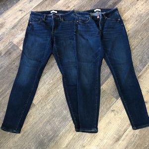 Loft curvy skinny crop jeans (2 pair)